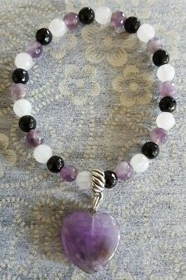 Rose Quartz Amethyst Black Onyx Gemstone Bead Bracelet With Heart Charm Pendant