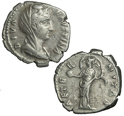 Silver denarius of Faustina senior, wife of Antoninus Pius.  Veiled bust.
