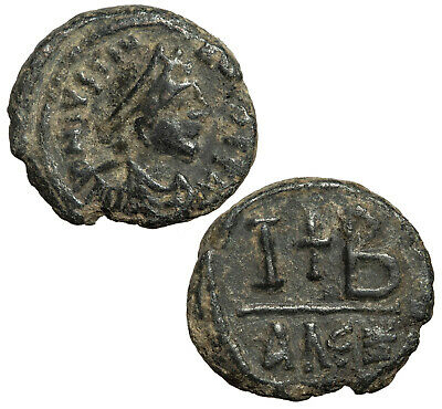 Byzantine 12 nummi coin of Justinian I from Alexandria.