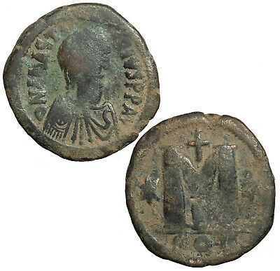 Byzantine follis of Justin I from Constantinople.