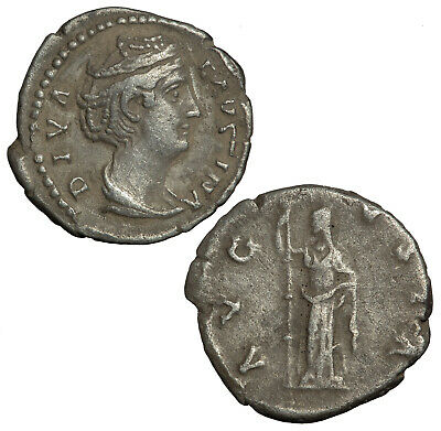 Silver denarius of Faustina senior, wife of Antoninus Pius. Ceres with torch.