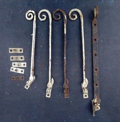 """reclaimed monkey tail iron window stays with pins - 12"""" to 9"""" long"""