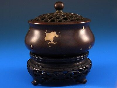 Antique Japanese Meiji Bronze Censor Pierced Lid