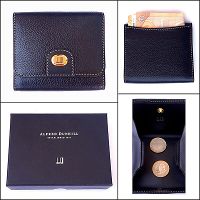 1990s NEW Vintage Dunhill Black Calfskin Leather Coin Wallet/Pouch