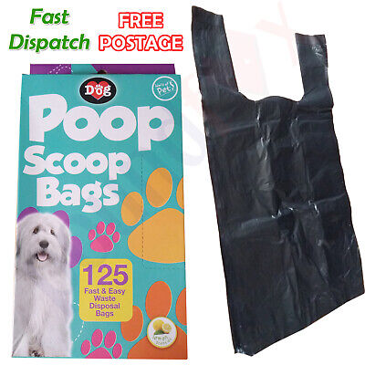 125 x PET POOP SCOOP WASTE PICKUP BAGS Dog Cat Puppy Large POO BAGS scented UK
