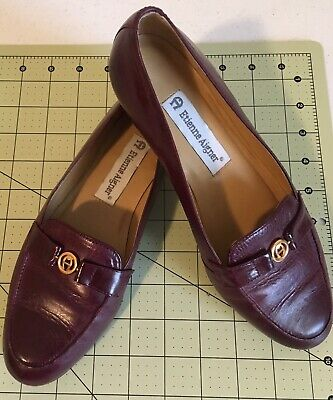 9e674550ac9 Etienne Aigner Loafers Flats Slip On Shoes Burgandy Leather Women s 6.5W UVG