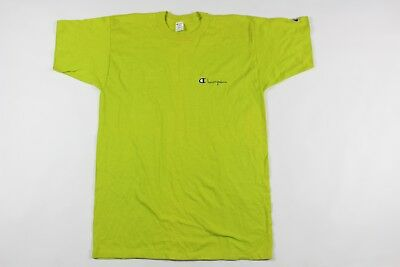 5ce3da8b4e17 Vtg 80s New Champion Mens Large Spell Out Jersey Knit Tee Shirt Lime Green  USA