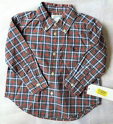 Bnwt Ralph Lauren Polo Red Tartan Checked Cotton Shirt Aged 24 Months