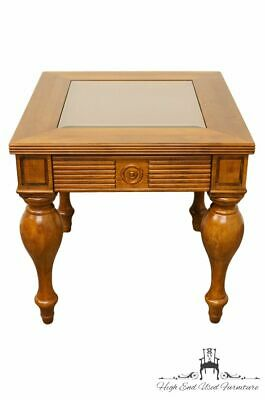 """High End English Tudor Style 26"""" Glass Top Accent End / Lamp Table"""