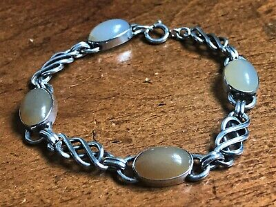 Antique Arts & Crafts Celtic Style Silver & Moonstone Bracelet - Circa 1910 - 20