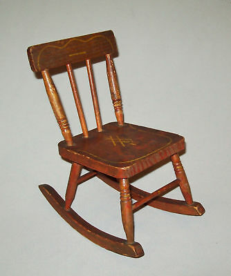 Very nice antique vtg ca 1900s Stenciled Doll Size Rocking Chair original paint