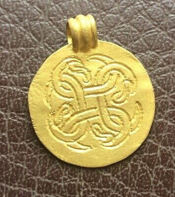 Authentic Ancient Artifact > Viking Gold Knotwork Pendant VK 88