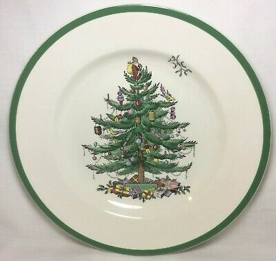 """Spode Set of 4 """"Christmas Tree"""" 10-3/4"""" Dinner Plates Made in England 3324-AS"""