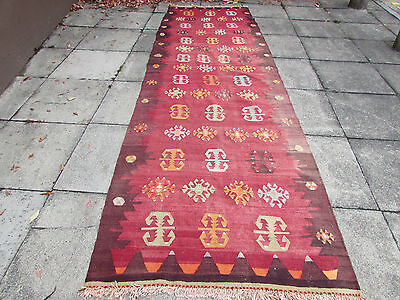 Antique Traditional Turkish Oriental Hand Made Kilim Rug 376x120cm Red Wool