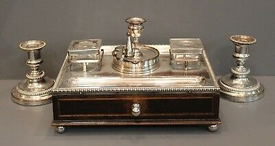 Antique Regency mahogany and Sheffield silver plate Standish /w candlesticks.