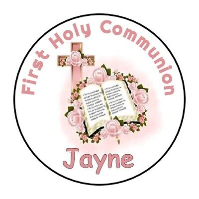 "30 First Communion Bible ROSES Personalized 1.5"" Round Labels Lollipop Stickers"
