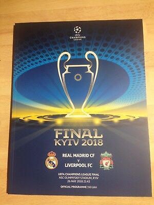 2018 Champions League final football programme Real Madrid v Liverpool in Kiev