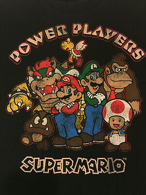 0608f533 Boys Youth Black Nintendo Super Mario Power Players XL Extra Large T Tee  Shirt