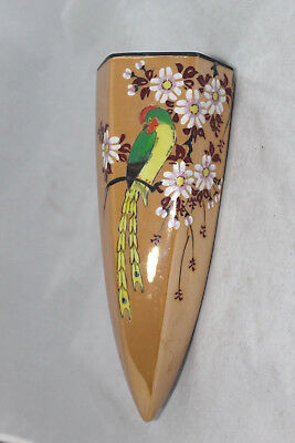 Large Luster Wall Pocket Parrot and Blossom Design