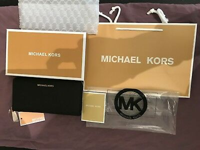 100% Genuine Michael Kors Black Leather Wallet Purse With Box And Gift Bag