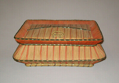 Old Antique Vtg 19th C 1880s Sweet Grass Sewing Basket Lined Notions Very Nice