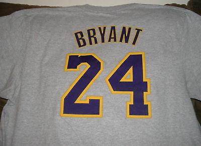 170b453e457 KOBE BRYANT #24 Lakers NWT Adidas Net Number T-SHIRT NBA *NEW* Gold ...