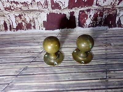 Pair Antique Old Victorian Edwardian Brass Ball Door Handles Knob Reclaimed