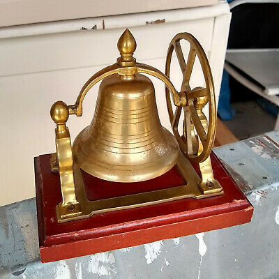 Vintage SHIPS BRASS BELL on wood base w/ Pully Wheel NAUTICAL DECOR Desk Shelf