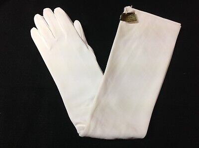 Vintage Long White Nylon PEARL BUTTONS Opera Gloves 22 Inches Long ONE SIZE