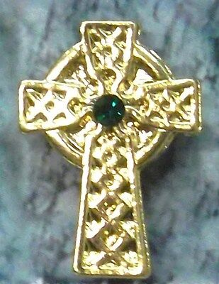 Irish Celtic Cross Lapel Pin With Emerald Crystal Stone in Gold Plate NEW