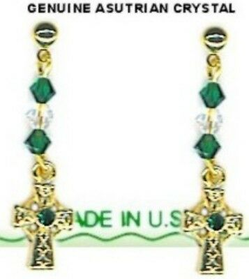 Irish Celtic Cross Dangle Earrings With 8 Crystal Stones Gold Plate & Color NEW