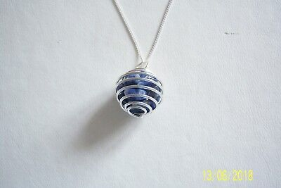 Genuine Lapis Lazuli Pendant On A Sterling Silver Chain Stamped 925 Chips Bnib