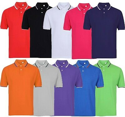 Mens Short Sleeve Plain Tipping Polo Shirt T Shirt Top Casual Cotton S-2XL Pique