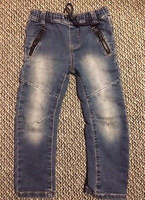 Boys Arc Leg Blue Jeans 3-4 Years Primark With Elasticated Waistband