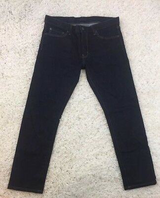 9040bb9b Uniqlo NWOT Japanese Fabric By Kaihara Selvedge Tapered Indigo Jeans Sz 33  X 34