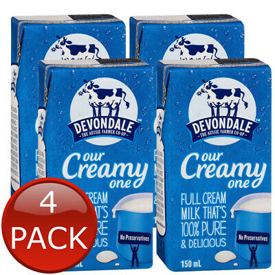 4 x DEVONDALE LONG LIFE FULL CREAM MILK  NO PRESERVATIVES AUS 100% PURE 150mL