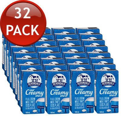 32 x DEVONDALE LONG LIFE FULL CREAM MILK  NO PRESERVATIVES AUS 100% PURE 150mL