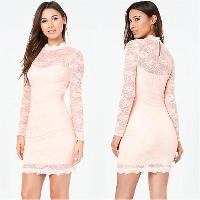 Bebe Pale Blush Lace Mock Neck Dress Nwt New Xsmall Xs