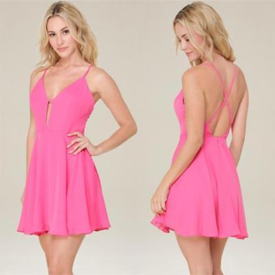 Bebe Pink Lily Crossback Skater Dress Nwt New $98 Xsmall Xs 2