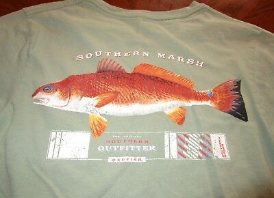 6b2531236a941 SOUTHERN MARSH Redfish Outfitter T-shirt bay green red drum fish beach men  Small