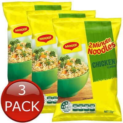 3 x MAGGI 2 MINUTE CHICKEN NOODLE INSTANT NOODLES PANTRY SNACKS BREAKFAST 72g