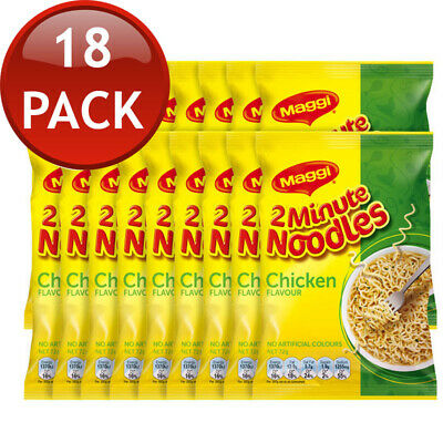 18 x MAGGI 2 MINUTE CHICKEN NOODLE INSTANT NOODLES PANTRY SNACKS BREAKFAST 72g