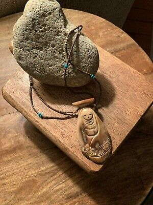 """Beautiful Hand Carved 28"""" Necklace Double Sided"""