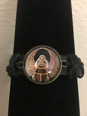 Ancient Egyptian Scarab Leather Egypt Design Unisex Cuff Bracelet Bangle