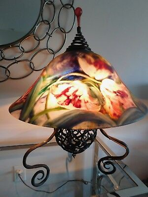 "Vtge ULLA DARNI Reverse hand painted floral desk table glass signed lamp 20""W"