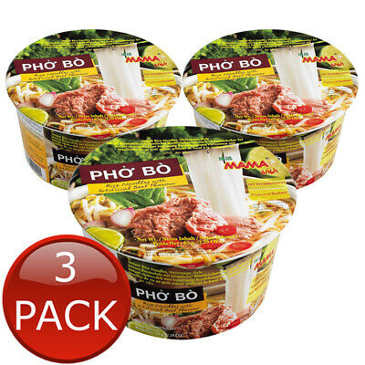 3 x MAMA PHO BO BEEF BOWL NOODLES INSTANT NO PRESERVATIVES RICE NOODLE BULK 65g