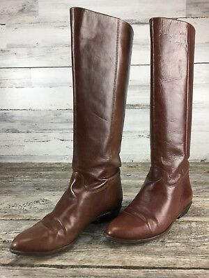 32bdf92739daa NINE WEST FABULOUSO Brown Leather High Tall Boots Buckle Detail Sz ...