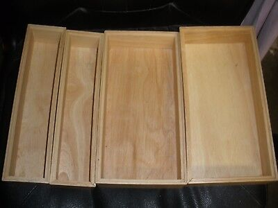 """lot of 4 Bed Bath & Beyond wooden boxes 12"""" long X 2.5"""" high X 6""""/3"""" wide"""