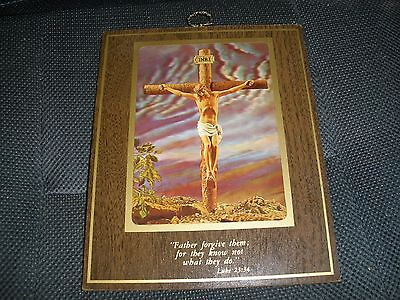 "Vintage Picture Wall Hang Crucifix Inri Luke 23:34 ""Father Forgive Them ..."""