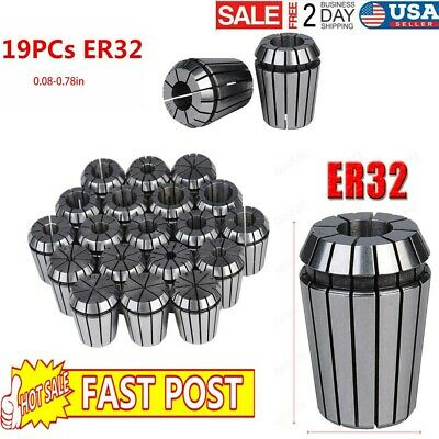 19Pcs ER32 Precision Spring Collet Set For CNC Milling Lathe Tool Workholding US